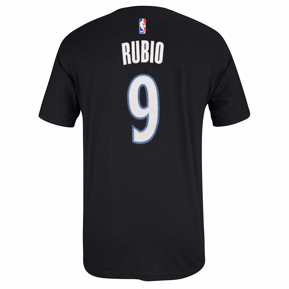 Ricky Rubio Minnesota Timberwolves NBA Adidas Men Black Official Player Name & Number Jersey T-Shirt
