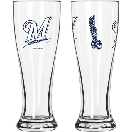 16oz MLB Milwaukee Brewers Gameday Style Glass Pilsner Set, (Boelter Milwaukee Brewers Glass)