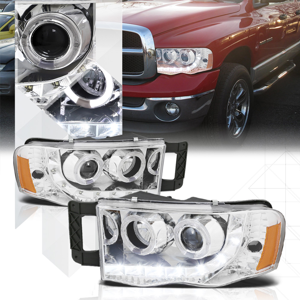 Chrome Dual Halo Projector Headlight LED DRL Amber Signal for 02-05 Dodge Ram