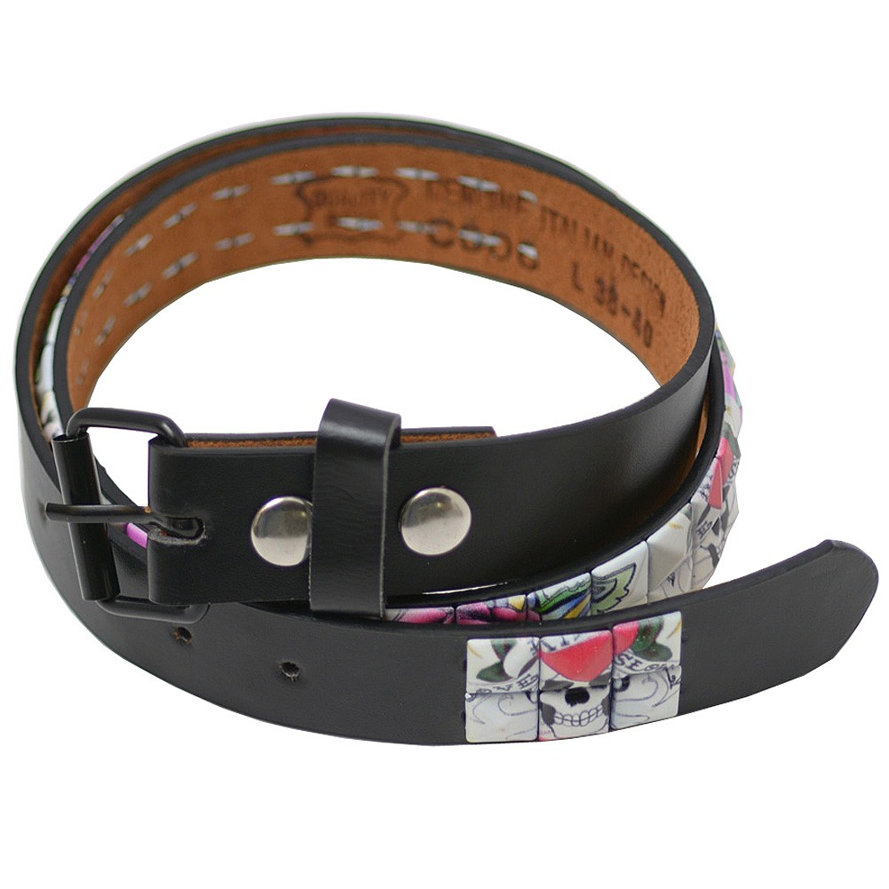 "Girls Black White Pyramid Studded Single Prong Belt S-L (20.5-30"")"