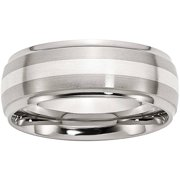 Stainless Steel Sterling Silver Inlay Ridged Edge Brushed and Polished Band, Available in Multiple Sizes
