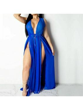 Women Sheer Lace Bikini Cover up Summer Cardigan Swimwear Beach Long Dress