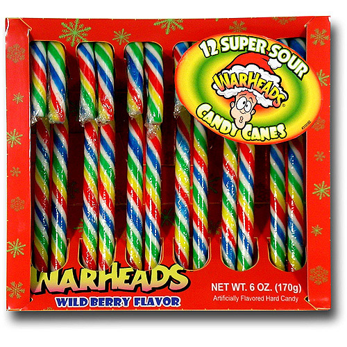 Warheads Super Sour Wild Berry Flavor Holiday Candy Canes, 12 count