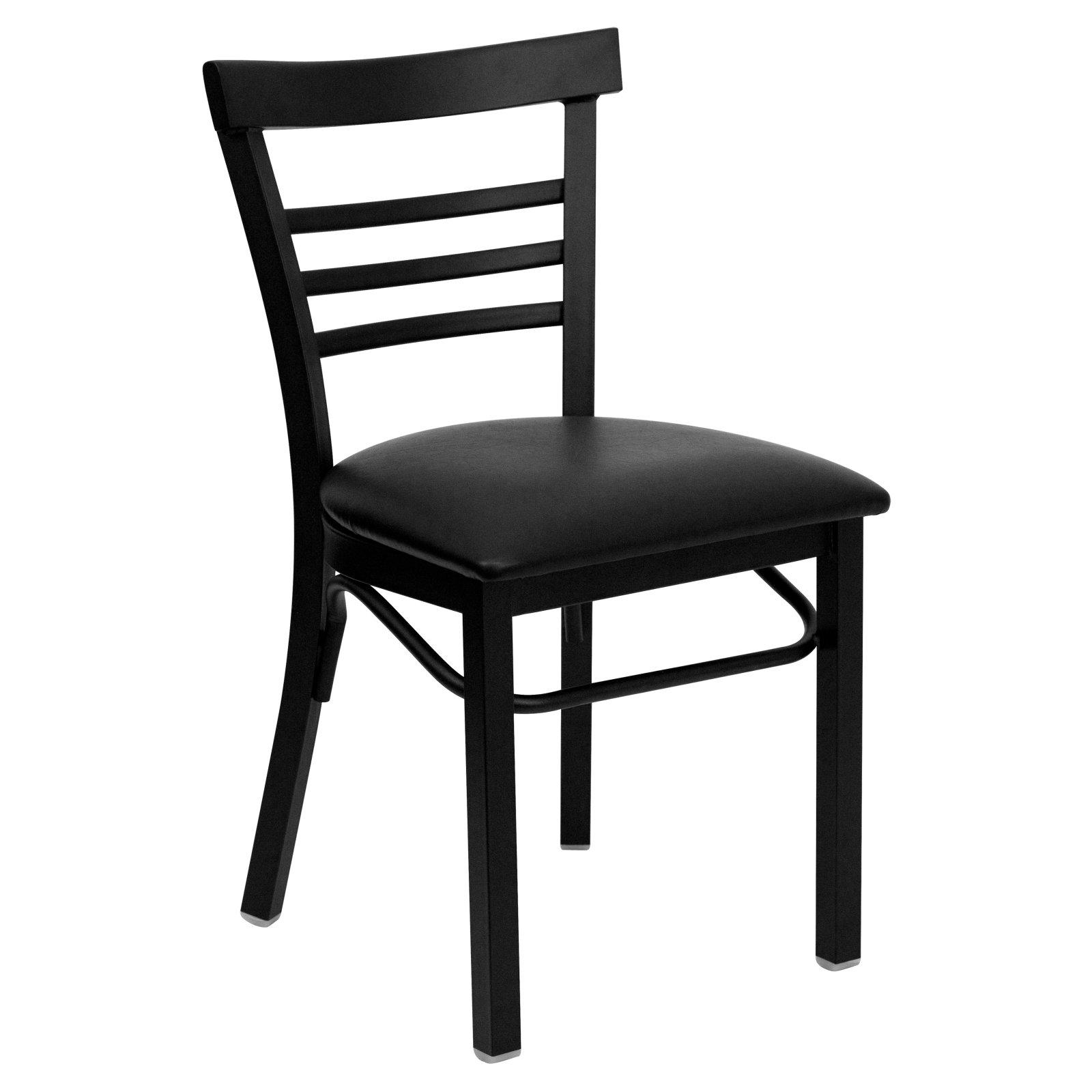 Flash Furniture HERCULES Series Black Ladder Back Metal Restaurant Chair, Vinyl Seat, Multiple Colors