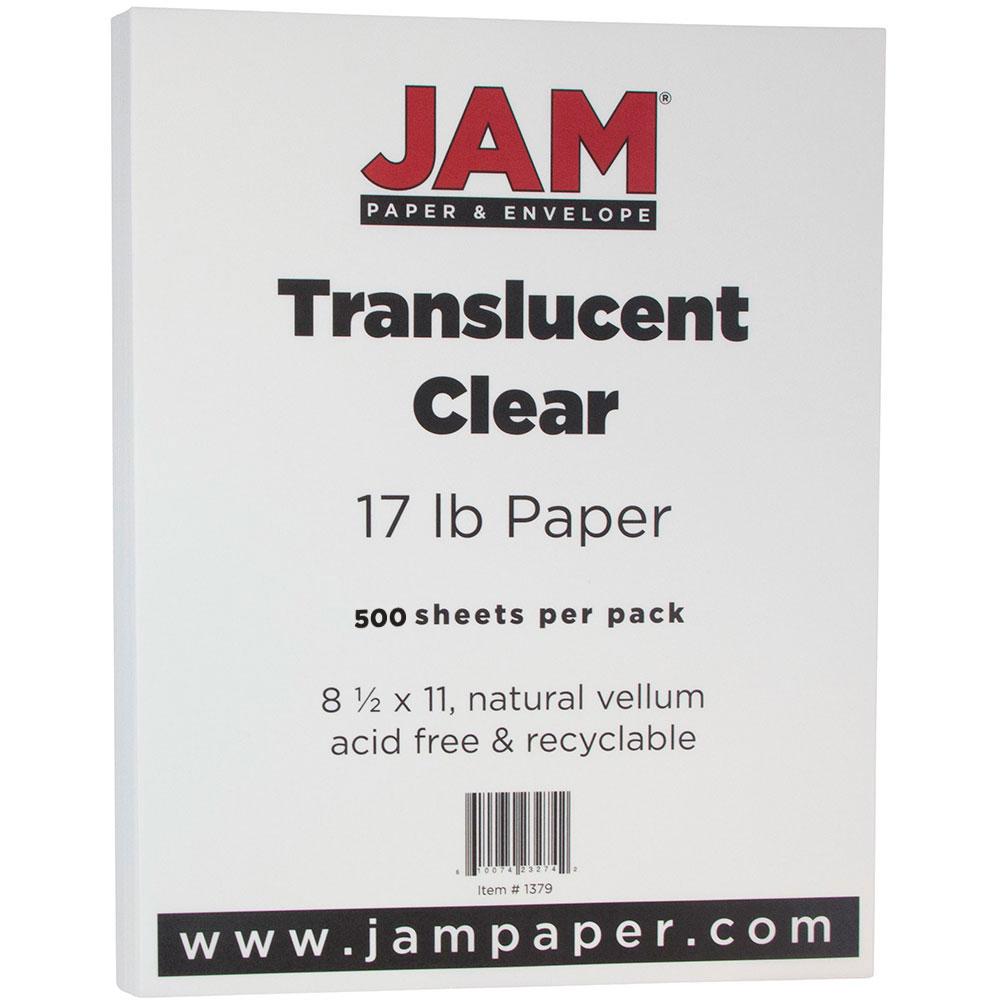 JAM Paper Translucent Vellum Paper, 8 1/2 x 11, 17lb Clear 500 Sheets/Ream