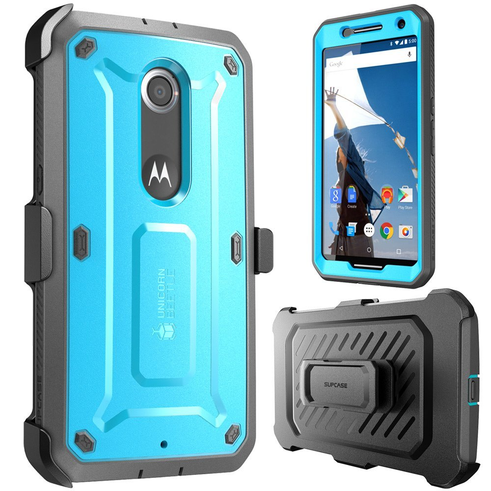 hot sale online 4e787 0afde SUPCASE Google Nexus 6 Case - Unicorn Beetle Pro Series Protective Cover  with Built-in Screen - Blue Black
