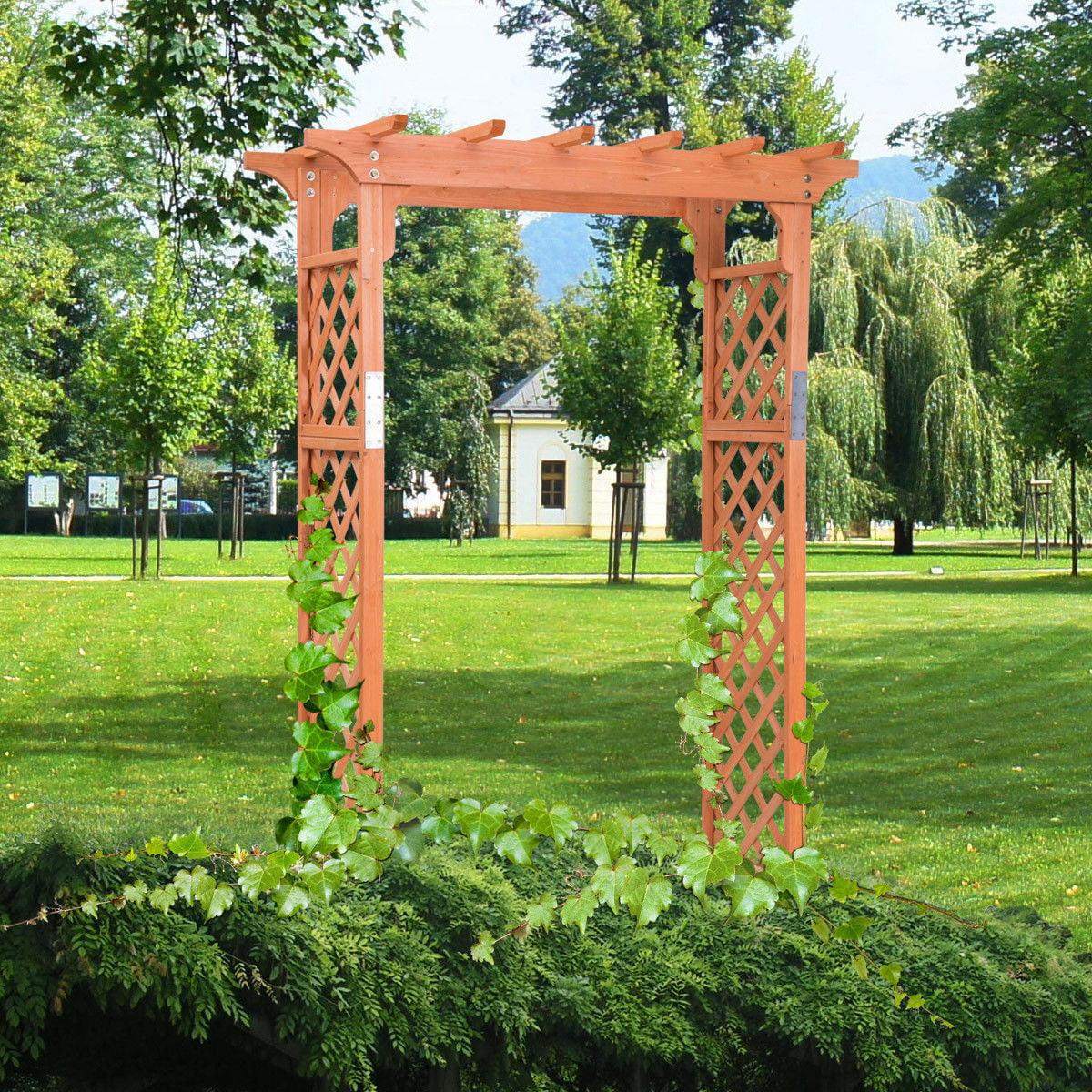 Costway Arbor Over 7FT High Wooden Garden Arch Trellis Pergola Outdoor Patio Plant by Costway