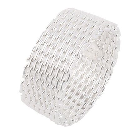 Woman Metal Mesh Hollow Design Open Braided Finger Ring Silver Tone US 9