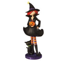 "Ganz 18"" Glittered Witch and Cat Halloween Figure Decoration - Black/Orange"