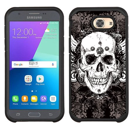 Hybrid Case for Samsung Galaxy J3 Luna Pro 4G LTE / J3 Eclipse, OneToughShield ® Dual Layer Shock Absorbing Phone Case (Black) - Grunge Skull