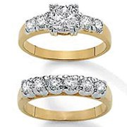 PalmBeach Jewelry 4479511 2.15 TCW Round Cubic Zirconia 14k Yellow Gold-Plated Two-Piece Bridal Enga