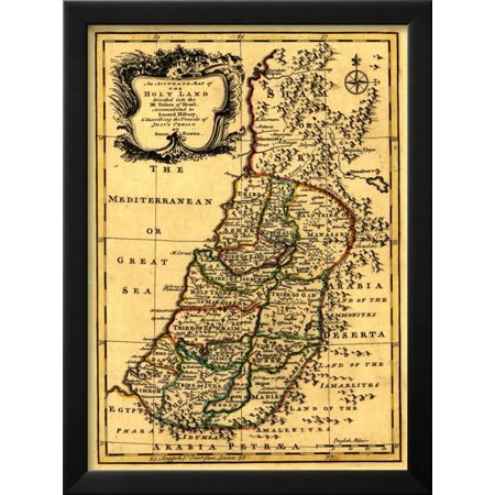 The Tribes of Israel in Palestine - Panoramic Map Framed Art Print ...