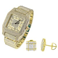 Techno Pave Iced out Watch Gold