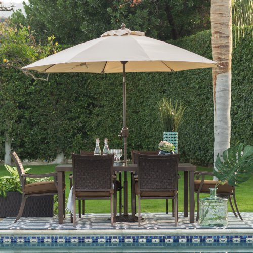 Coral Coast 9-ft. Push Button Tilt Wind Resistant Spun-Poly Patio Umbrella