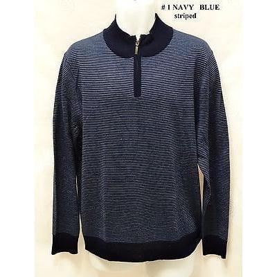 Club Room Italian Yarn Merino Wool Blend 1 4 Zip Sweater L   Blue