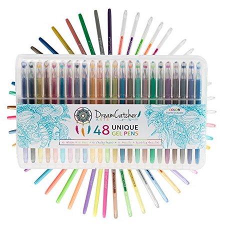dreamcatcher arts gel pens set includes 48 unique fine tip coloring markers a color