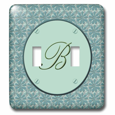 3dRose Elegant letter B in a round frame surrounded by a floral pattern all in teal green monotones - Double Toggle Switch (lsp_36008_2) Double Face Green Letter