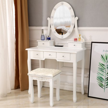 MDF Simplistic Dressing Table White with 360° Rotation Single Mirror & 5 Drawers