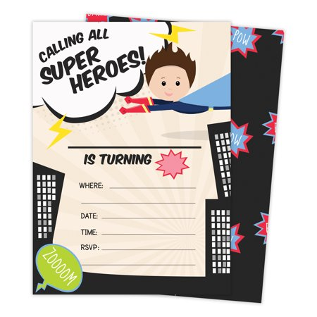 Superhero Boy 1 Happy Birthday Invitations Invite Cards (25 Count) With Envelopes & Seal Stickers Vinyl Boys Kids Party](Superhero Invitations)