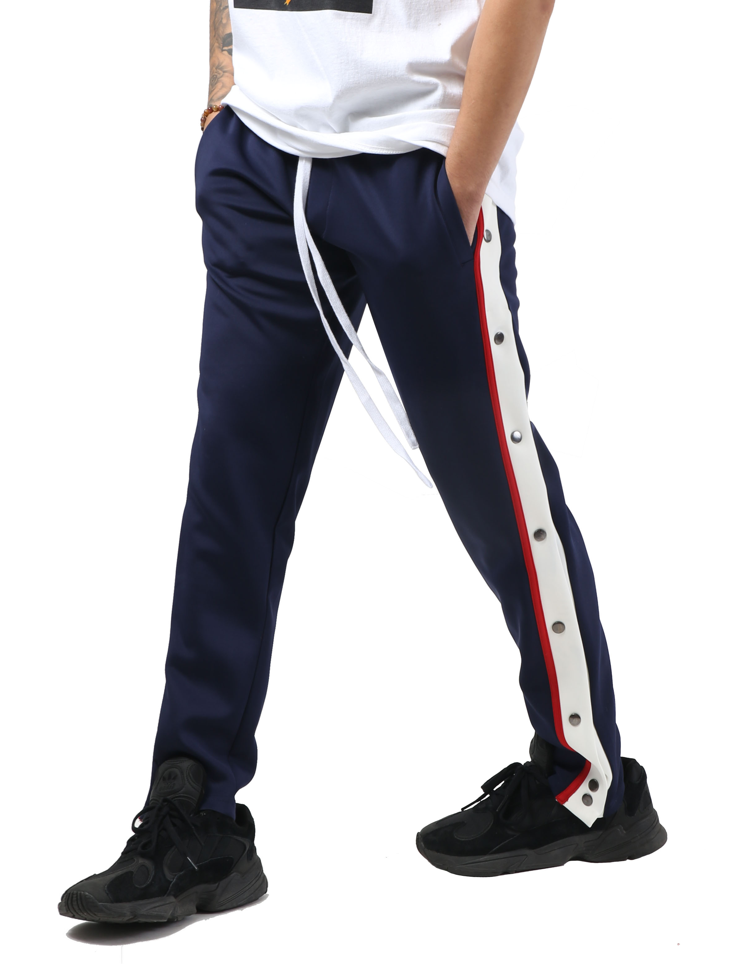 Mens Stripe Track Pants with Button Accent Casual Stretch Slim Fit