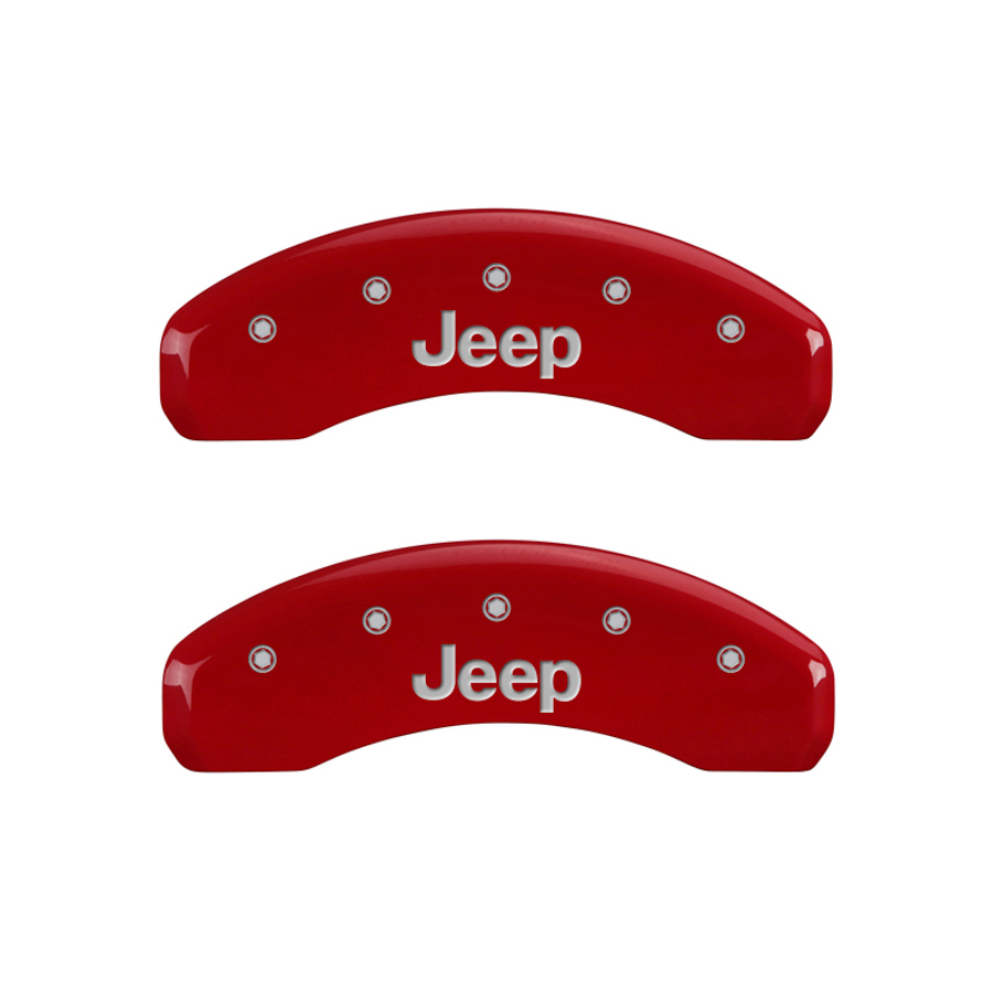 Set of 4 MGP Caliper Covers, 42006Sjeprd, Engraved Front and Rear: Jeep, Red Powder Coat Finish, Silver Characters