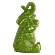 Large Trumpeting and Sitting Up Elephant Figurine in Gloss Green
