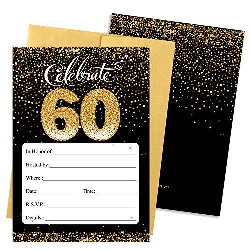 White and Gold 60th Birthday Party Invitations with Envelopes, 25 Count