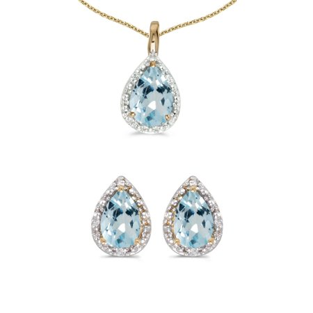 10k Yellow Gold Pear Aquamarine And Diamond Earrings and Pendant Set