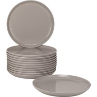 10 Strawberry Street Double Line Catering Pack, Set of 12 Gray Salad Plates 8.25""