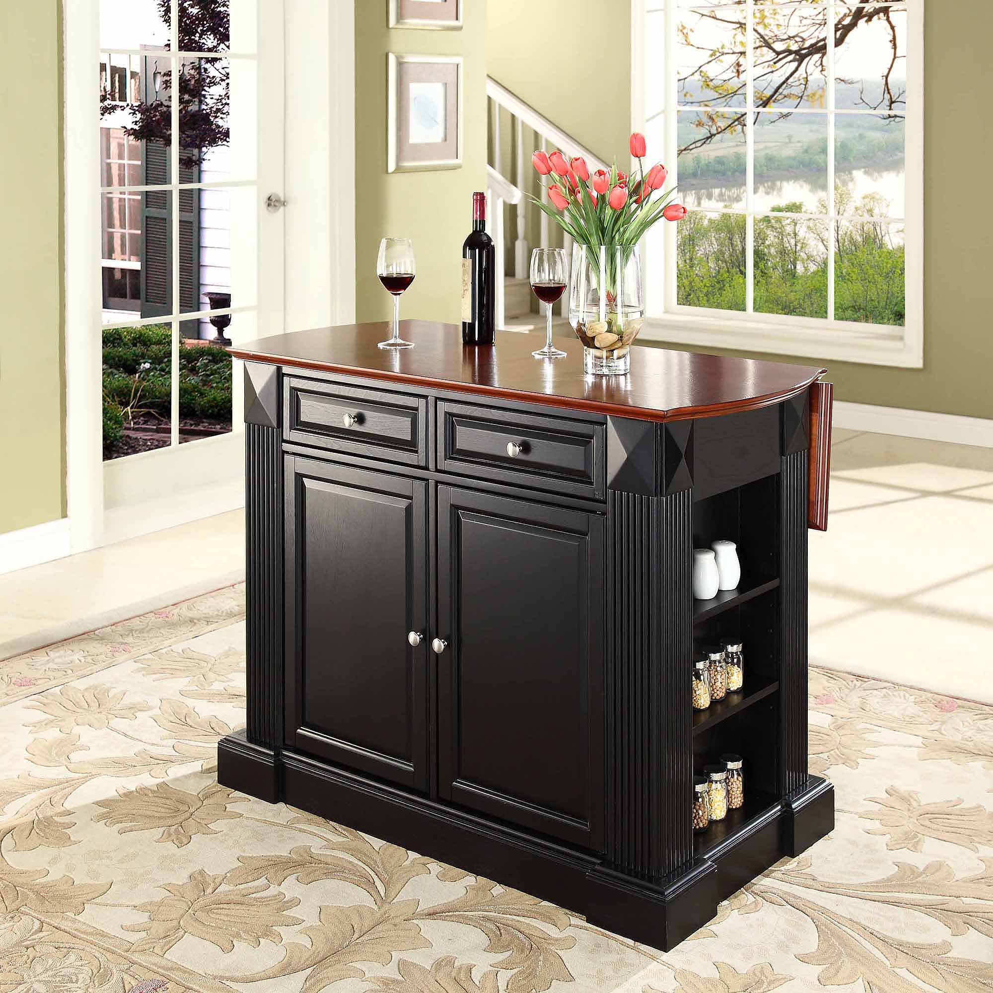 Crosley Furniture Drop Leaf Breakfast Bar Top Kitchen Island