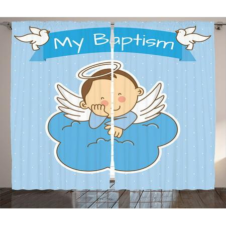 Baptism Sign Baby Anniversary Birthday Arrival Bird Decor Curtain 2 Panels Set (Baptism Decor)
