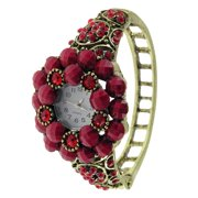 JF Collections Women's Antique Gold Bangle Vintage Watch with Red Faceted Stones and Crystals