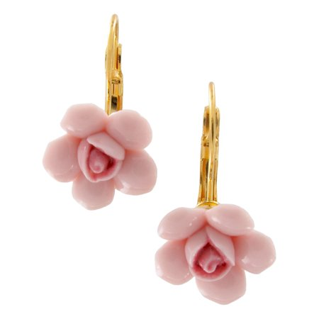 Pink Ceramic Rose Flower Pierced Lever Back Dangle Earrings