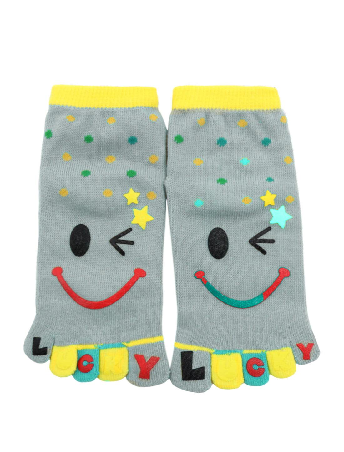 's Dots Pattern Stretchy Ankle Length Toe Socks Gray