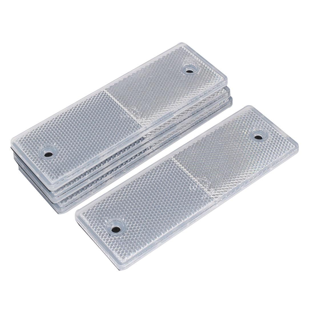 2 Holes Plastic Rectangle Reflective Warning Plate Reflectors White 4 Pcs