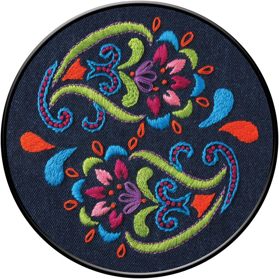 "Bohemian Paisley Stamped Embroidery Kit-6"" Round"