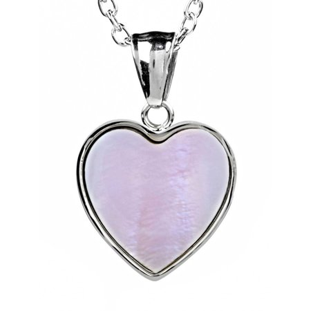 Stainless Steel Dyed Mother Of Pearl Heart (Mother Of Pearl Silver Plated)
