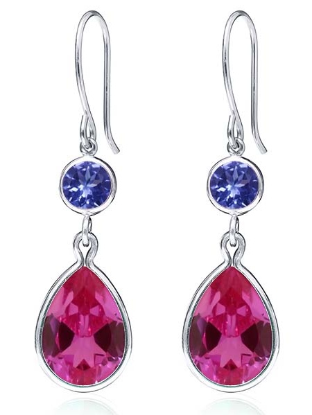 12.50 Ct Pink Created Sapphire Blue Tanzanite AAAA 925 Sterling Silver Earrings by