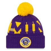 Minnesota Vikings New Era 2020 NFL Sideline Official Sport Pom Cuffed Knit Hat - Purple/Gold - OSFA