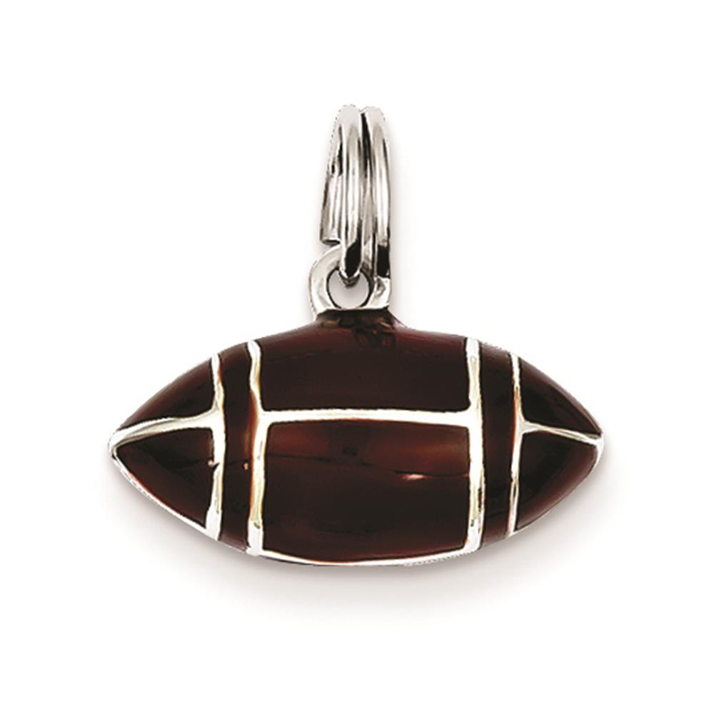 925 Sterling Silver 3D Brown Enameled Football Charm Pendant 11mmx16mm