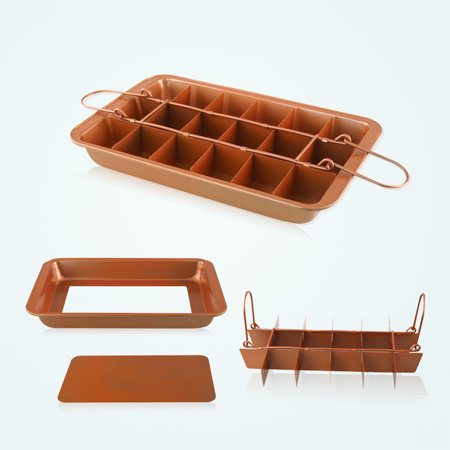 Non Stick Copper Coated Brownie Baking Pan Microwave & Oven Safe