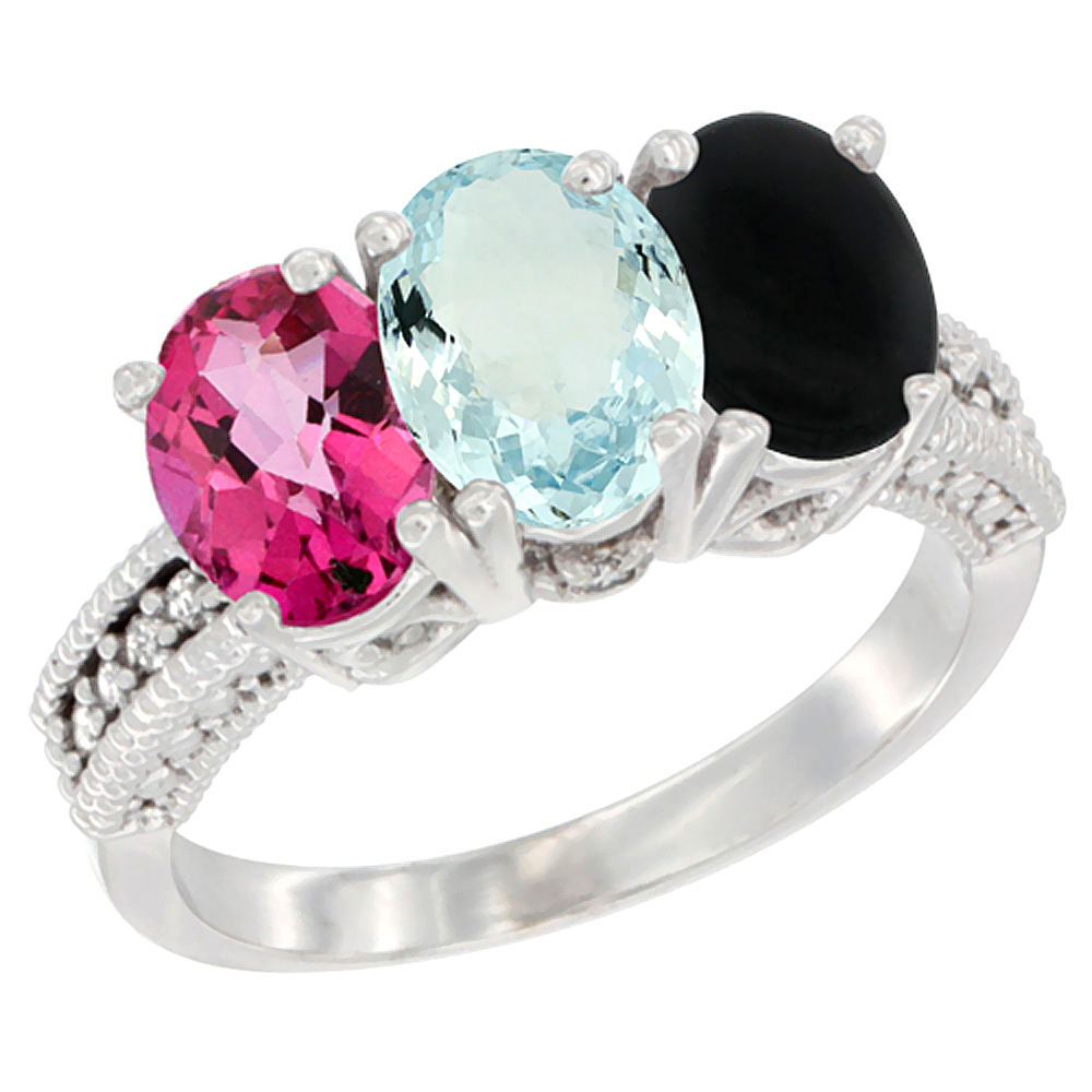 14K White Gold Natural Pink Topaz, Aquamarine & Black Onyx Ring 3-Stone 7x5 mm Oval Diamond Accent, sizes 5 10 by WorldJewels