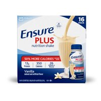 Ensure Plus Nutrition Shake with 13 grams of high-quality protein, Meal Replacement Shakes, Vanilla, 8 fl oz, 16 count