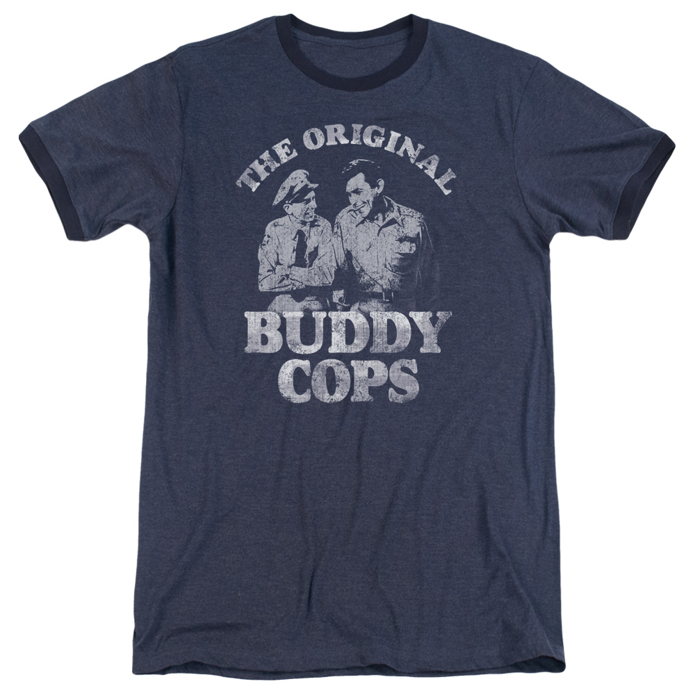 Andy Griffith Buddy Cops Mens Adult Heather Ringer Shirt