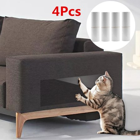 4Pcs Pet Couch Protector Clear Pet Cat Dog Guards with Self-Adhesive Pads, Protecting Your Sofa Furniture from Cat Scratching, Claw Proof Pads for Door and