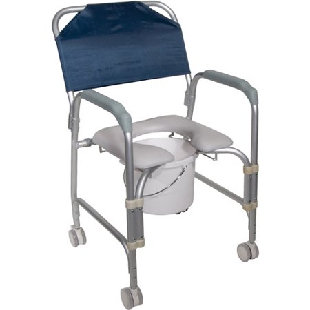 Drive Medical Lightweight Portable Shower Chair Commode With Casters