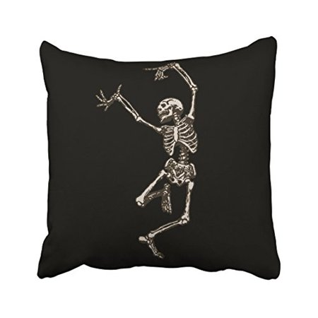 WinHome Vintage Funny Dancing Skeletons Bone Simple Polyester 18 x 18 Inch Square Throw Pillow Covers With Hidden Zipper Home Sofa Cushion Decorative