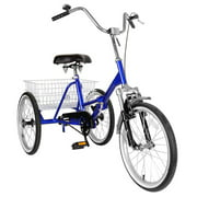 """Areyourshop Adult Folding Tricycle Bike 3 Wheeler Bicycle Portable Tricycle 20"""" Wheels Blue"""
