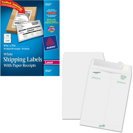 Avery White Shipping Labels with Paper Receipts with TrueBlock Technology for Laser Printers, 5-1/16; x 7-5/8;, Pack of 100 and Quality Park Survivor Tyvek Open-End Envelopes Bundle