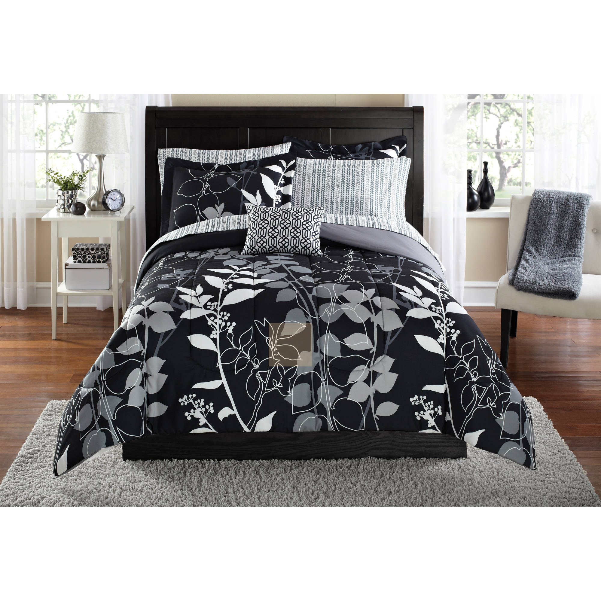 Mainstays Orkasi Bed In A Bag Coordinated Bedding Set   Walmart.com